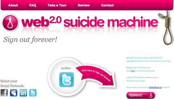 screenshot of Web 2.0 Suicide Machine